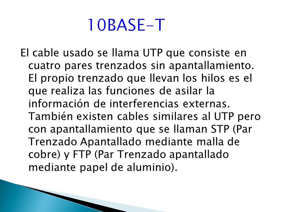 El cable usado se llama UTP que consiste en cuatro pares trenzados sin apantallamiento.