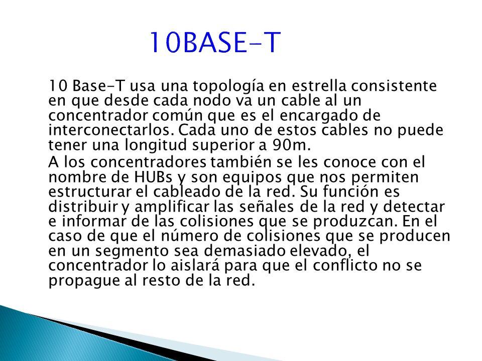 10 Base-T usa una topología en estrella consistente en que desde cada nodo va un cable al un concentrador común que es el encargado de interconectarlos.