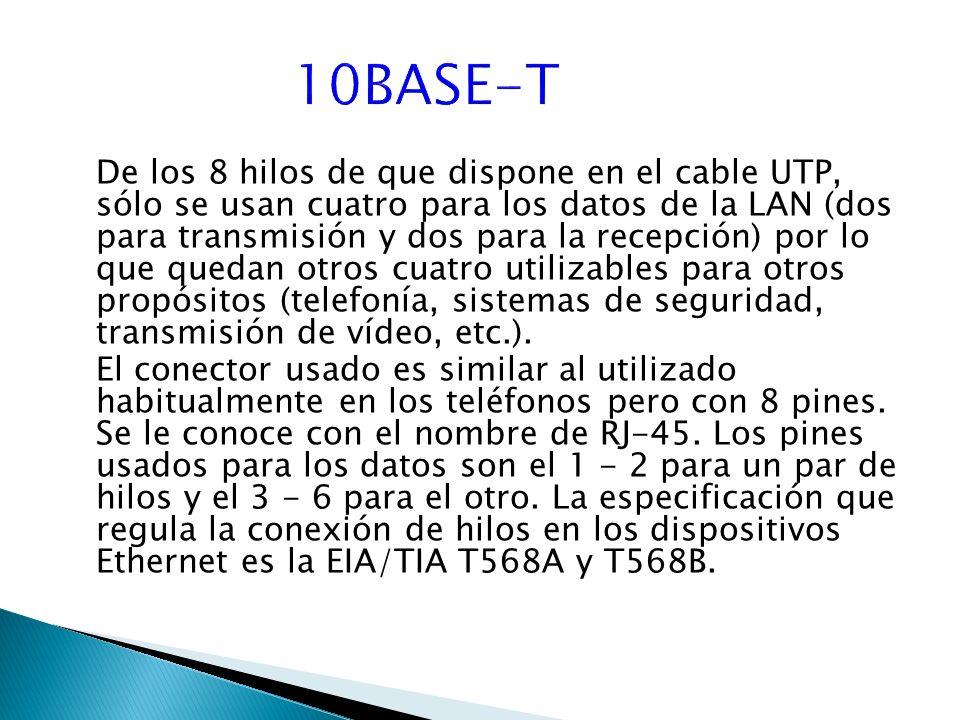 De los 8 hilos de que dispone en el cable UTP, sólo se usan cuatro para los datos de la LAN (dos para transmisión y dos para la recepción) por lo que quedan otros cuatro utilizables para otros propósitos (telefonía, sistemas de seguridad, transmisión de vídeo, etc.).