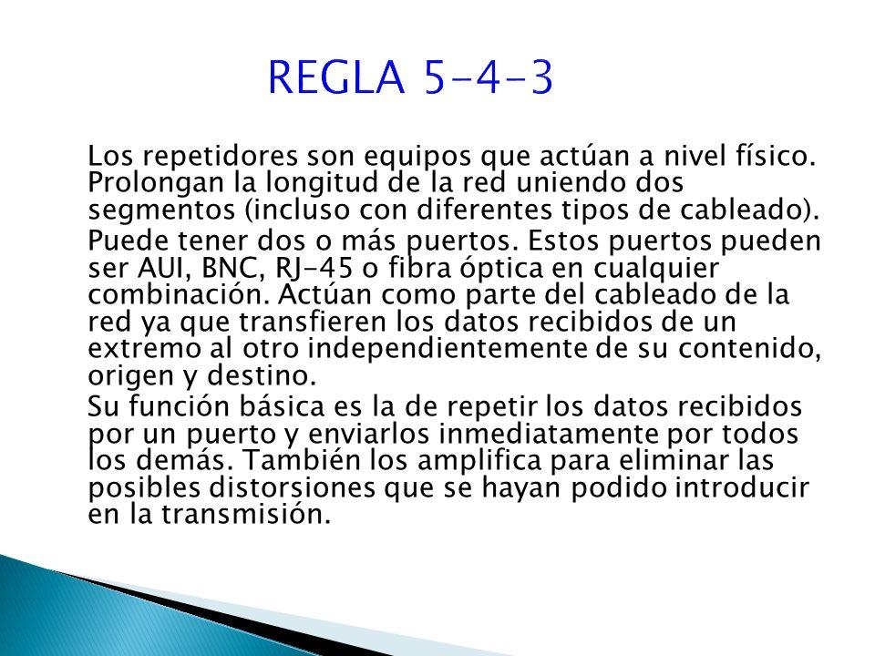 Los repetidores son equipos que actúan a nivel físico.