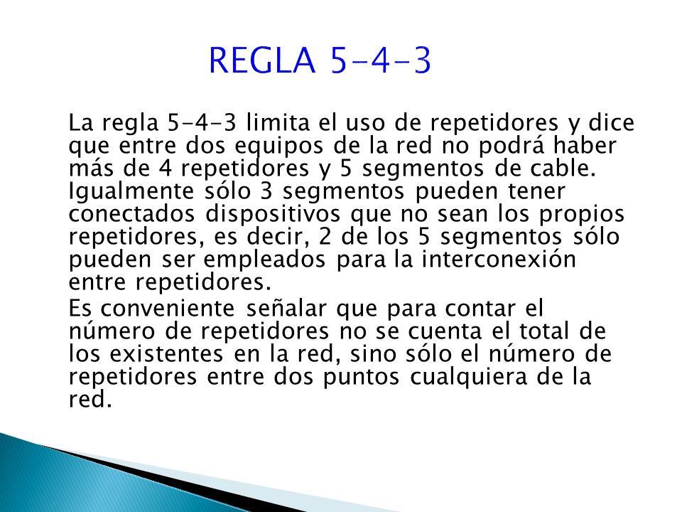 La regla 5-4-3 limita el uso de repetidores y dice que entre dos equipos de la red no podrá haber más de 4 repetidores y 5 segmentos de cable.