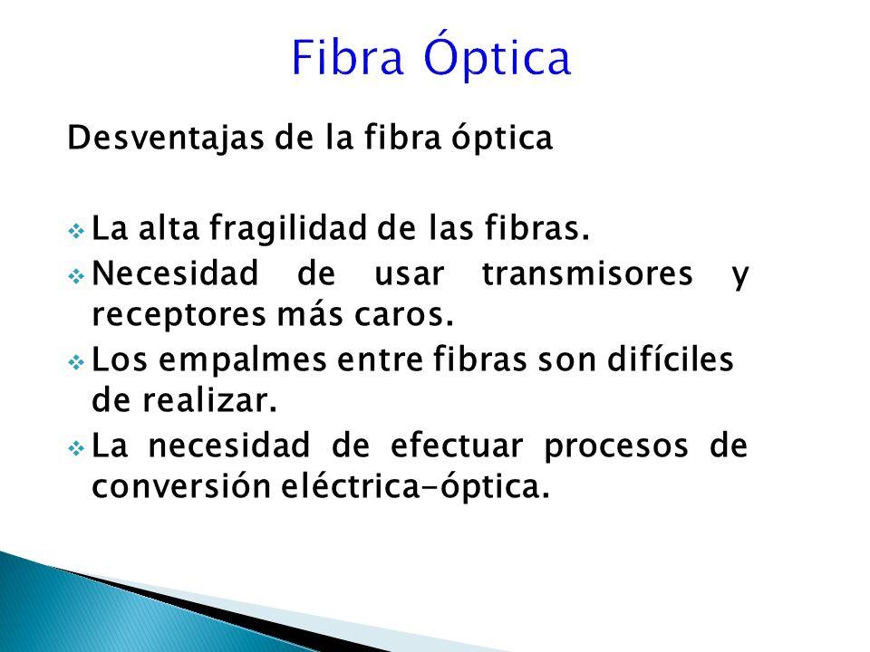 Desventajas de la fibra óptica La alta fragilidad de las fibras.