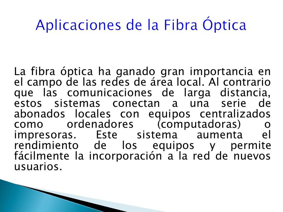 La fibra óptica ha ganado gran importancia en el campo de las redes de área local.