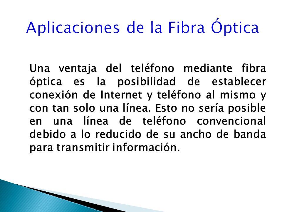 Una ventaja del teléfono mediante fibra óptica es la posibilidad de establecer conexión de Internet y teléfono al mismo y con tan solo una línea.