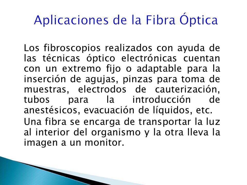 Los fibroscopios realizados con ayuda de las técnicas óptico electrónicas cuentan con un extremo fijo o adaptable para la inserción de agujas, pinzas para toma de muestras, electrodos de cauterización, tubos para la introducción de anestésicos, evacuación de líquidos, etc.