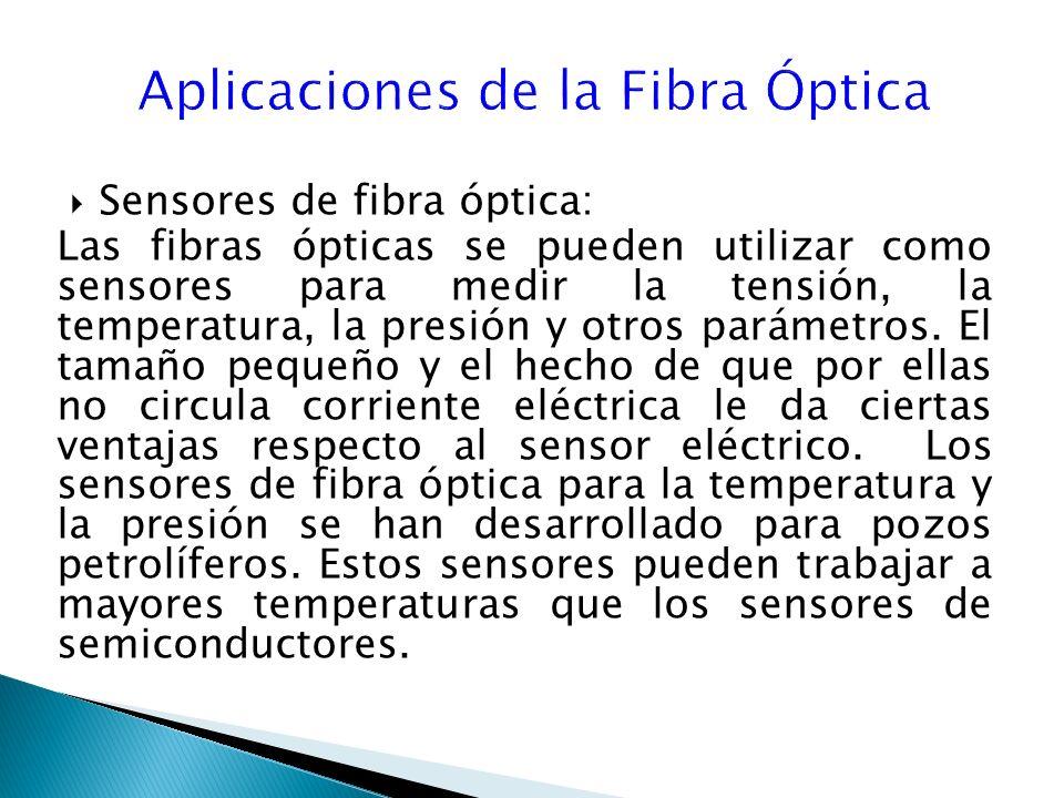 Sensores de fibra óptica: Las fibras ópticas se pueden utilizar como sensores para medir la tensión, la temperatura, la presión y otros parámetros.
