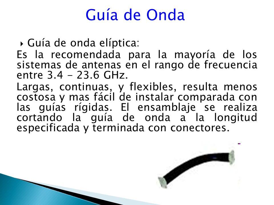 Guía de Onda Guía de onda elíptica: Es la recomendada para la mayoría de los sistemas de antenas en el rango de frecuencia entre 3.4 - 23.6 GHz.