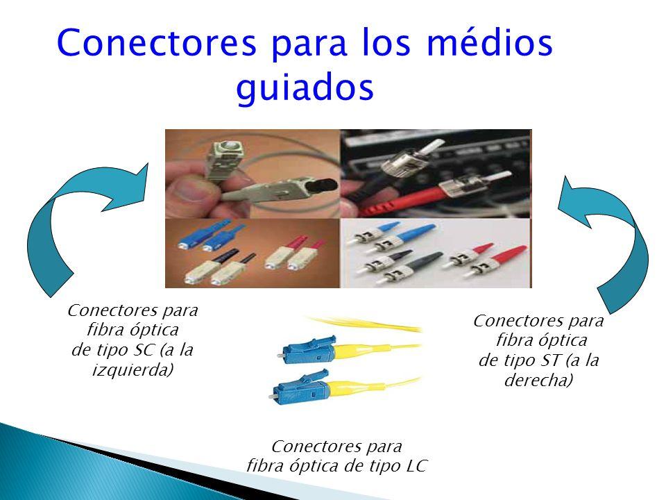 Conectores para los médios guiados Conectores para fibra óptica de tipo SC (a la izquierda) Conectores para fibra óptica de tipo ST (a la derecha) Conectores para fibra óptica de tipo LC
