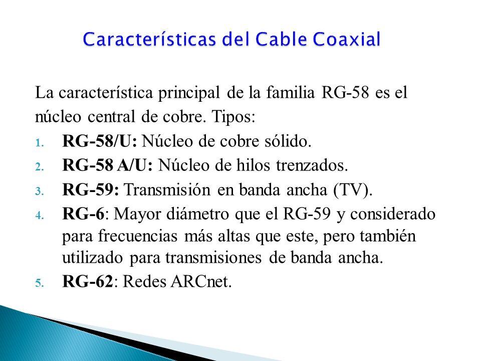 La característica principal de la familia RG-58 es el núcleo central de cobre.