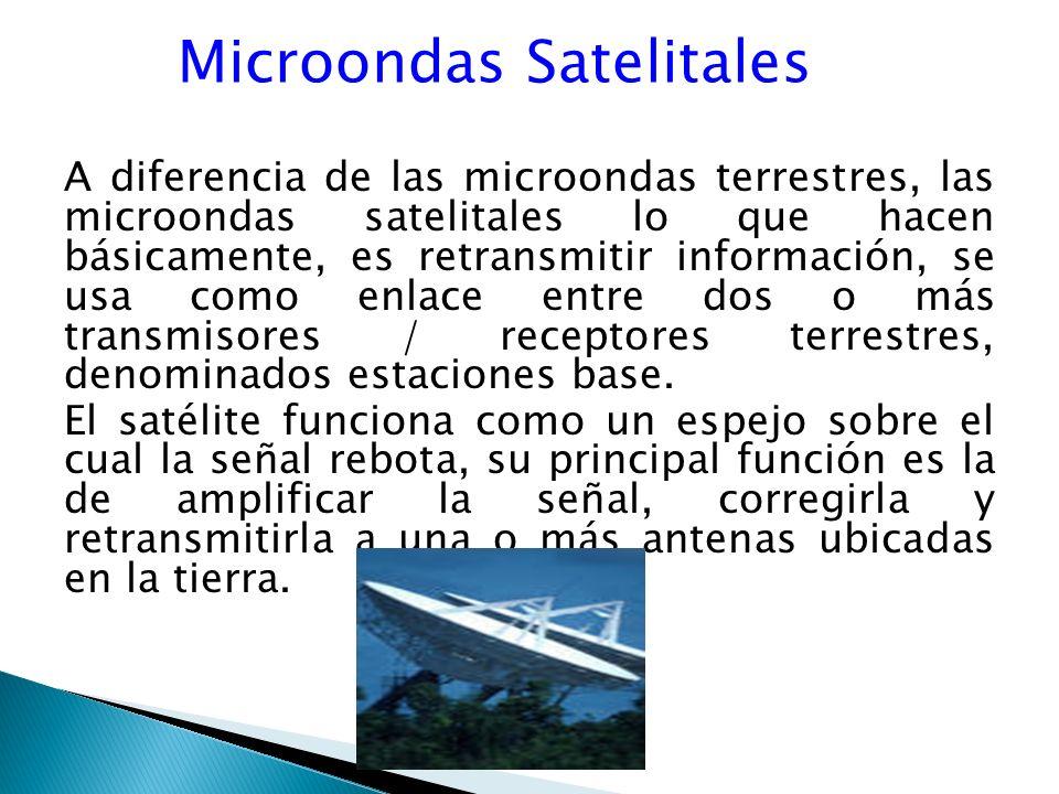 Microondas Satelitales A diferencia de las microondas terrestres, las microondas satelitales lo que hacen básicamente, es retransmitir información, se usa como enlace entre dos o más transmisores / receptores terrestres, denominados estaciones base.