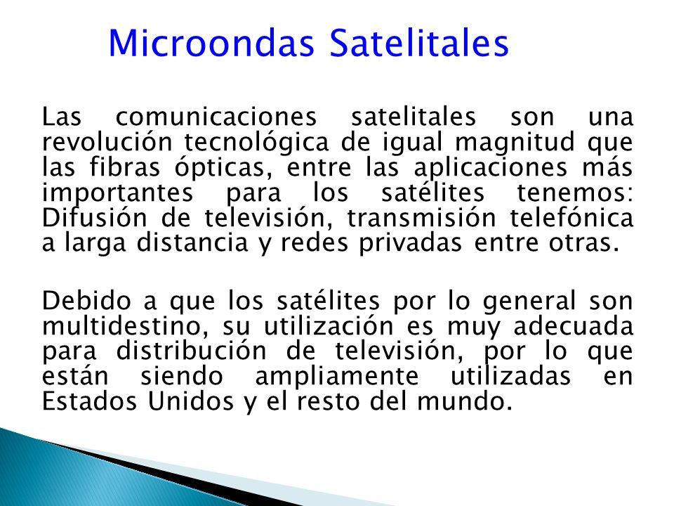 Microondas Satelitales Las comunicaciones satelitales son una revolución tecnológica de igual magnitud que las fibras ópticas, entre las aplicaciones más importantes para los satélites tenemos: Difusión de televisión, transmisión telefónica a larga distancia y redes privadas entre otras.