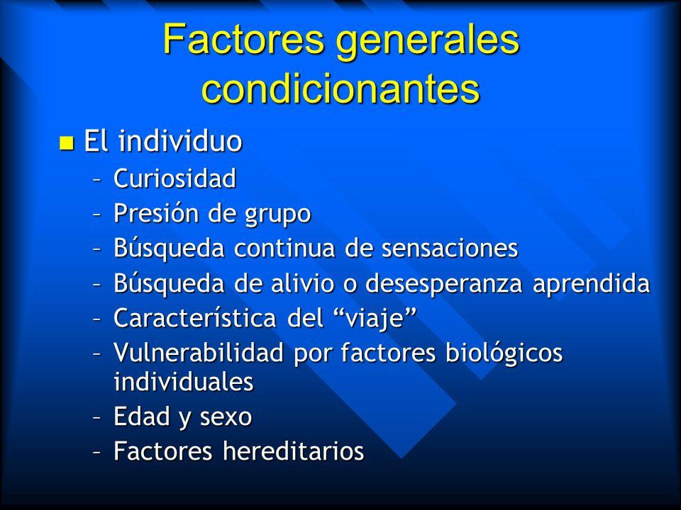 Factores generales condicionantes La droga La droga –Tipo de sustancia –Gratificación producida –Refuerzo negativo –Grado de pureza –Potencial farmaco