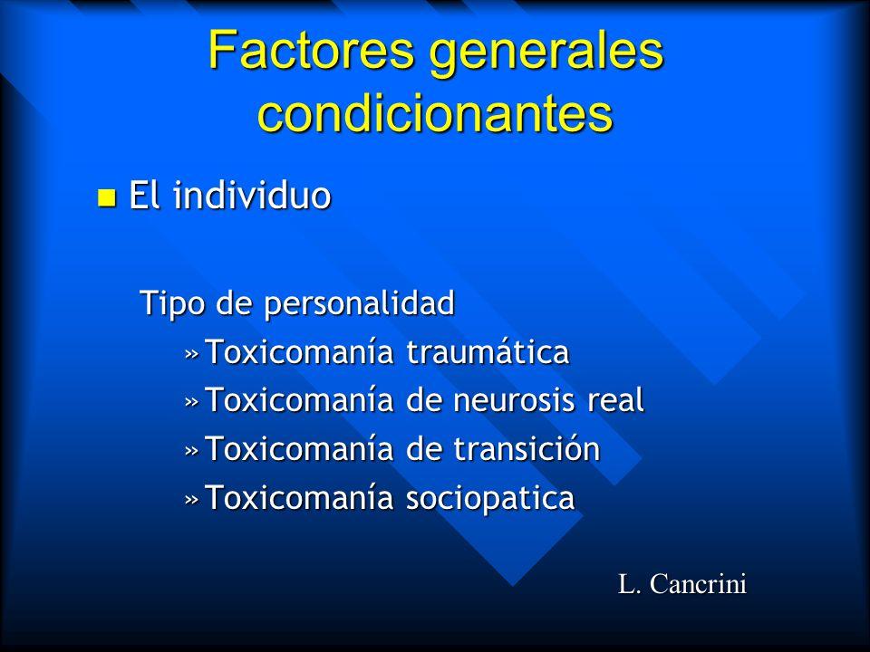 Factores generales condicionantes El individuo El individuo –Curiosidad –Presión de grupo –Búsqueda continua de sensaciones –Búsqueda de alivio o dese