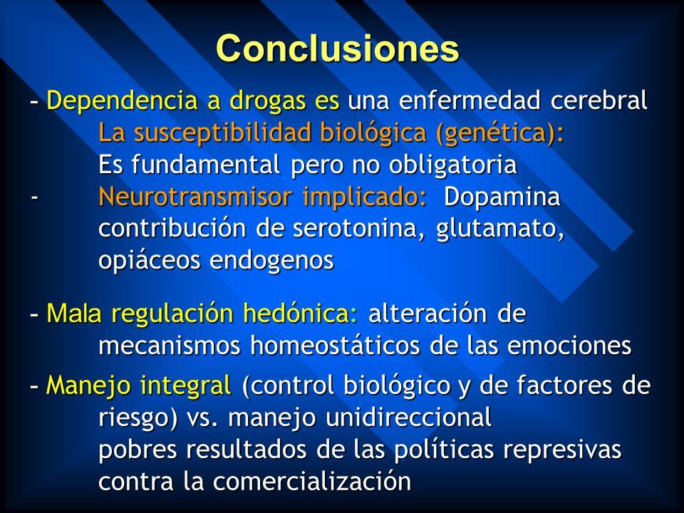 Aplicación práctica de los hallazgos biológicos Manejo integral: - abordaje farmacológico (fármacos anticraving y moduladores del sistema mesolímbico)