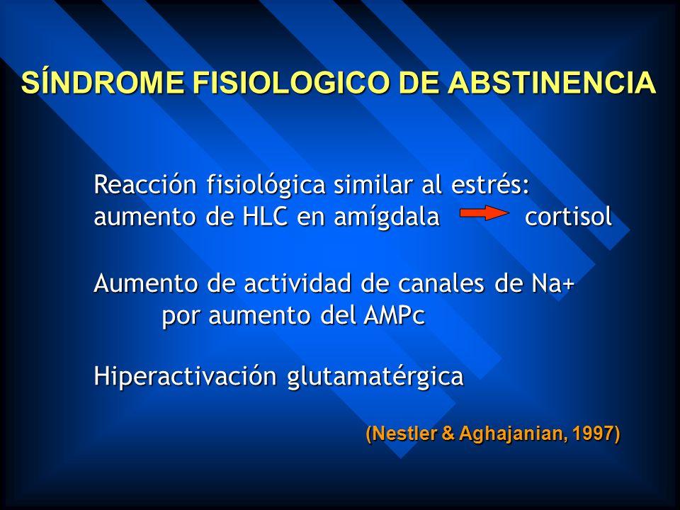 SÍNDROME FISIOLOGICO DE ABSTINENCIA Reacción fisiológica similar al estrés: aumento de HLC en amígdala cortisol Aumento de actividad de canales de Na+ por aumento del AMPc Hiperactivación glutamatérgica (Nestler & Aghajanian, 1997)