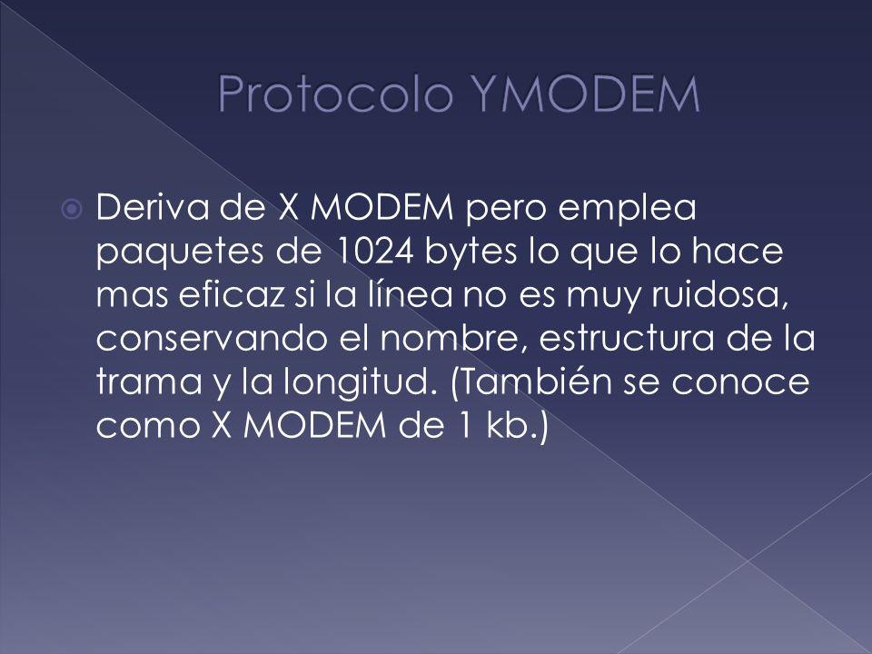 Deriva de X MODEM pero emplea paquetes de 1024 bytes lo que lo hace mas eficaz si la línea no es muy ruidosa, conservando el nombre, estructura de la