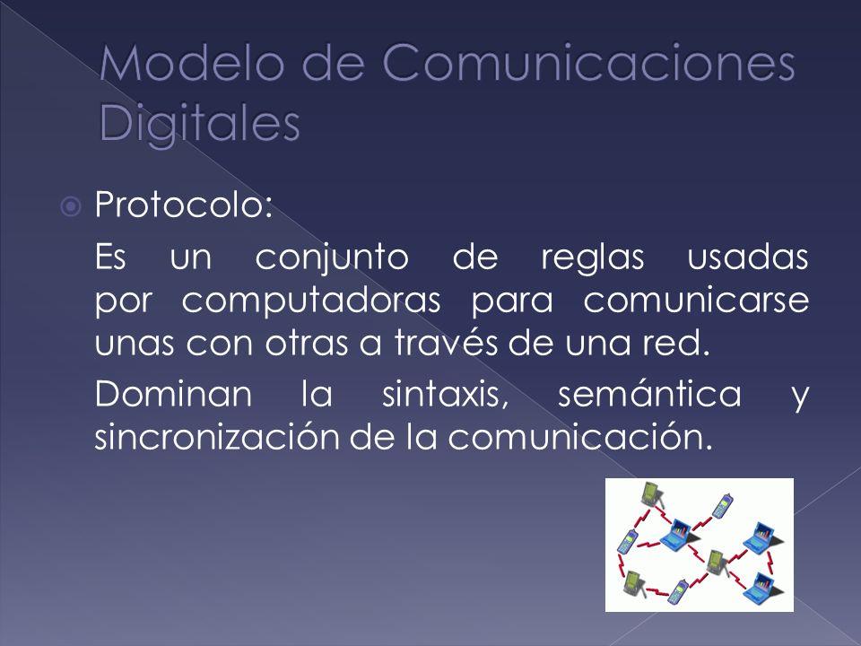 Protocolo: Es un conjunto de reglas usadas por computadoras para comunicarse unas con otras a través de una red. Dominan la sintaxis, semántica y sinc