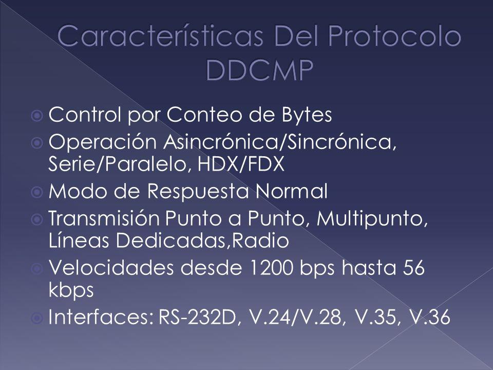 Control por Conteo de Bytes Operación Asincrónica/Sincrónica, Serie/Paralelo, HDX/FDX Modo de Respuesta Normal Transmisión Punto a Punto, Multipunto,