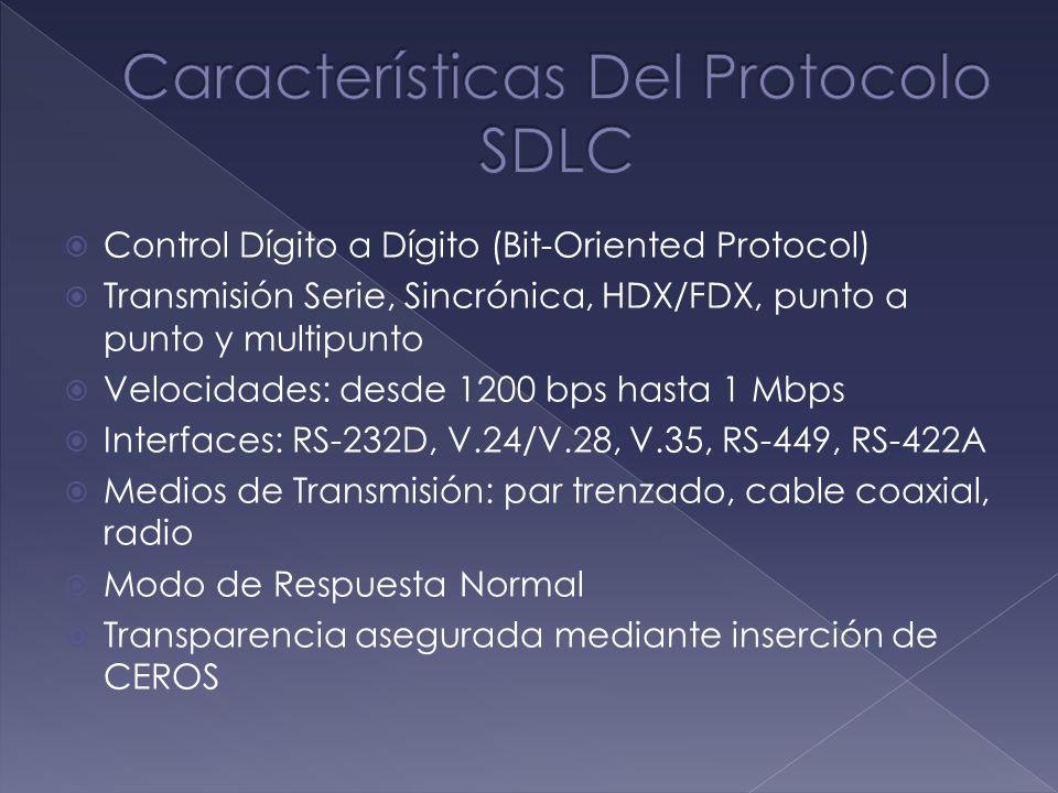 Control Dígito a Dígito (Bit-Oriented Protocol) Transmisión Serie, Sincrónica, HDX/FDX, punto a punto y multipunto Velocidades: desde 1200 bps hasta 1
