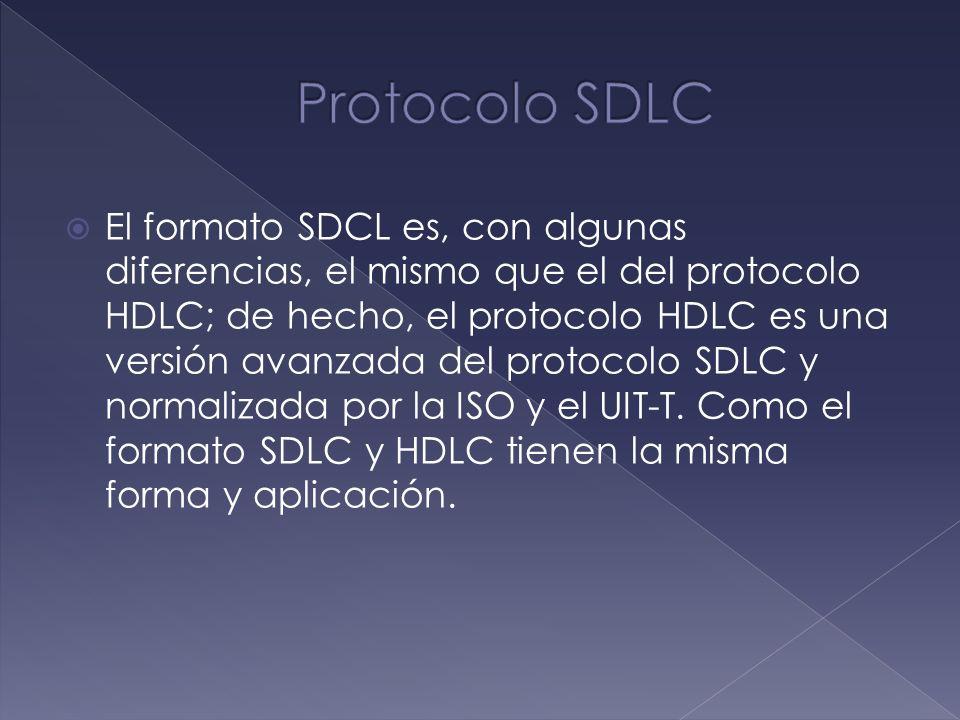 El formato SDCL es, con algunas diferencias, el mismo que el del protocolo HDLC; de hecho, el protocolo HDLC es una versión avanzada del protocolo SDL