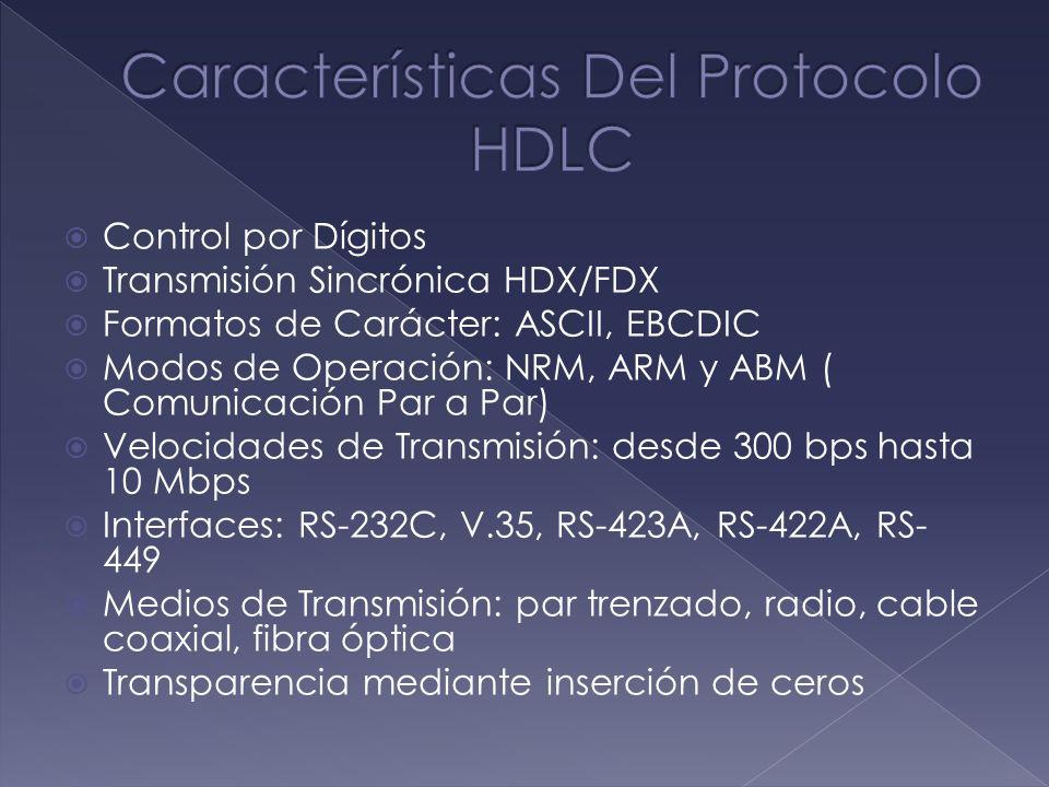Control por Dígitos Transmisión Sincrónica HDX/FDX Formatos de Carácter: ASCII, EBCDIC Modos de Operación: NRM, ARM y ABM ( Comunicación Par a Par) Ve
