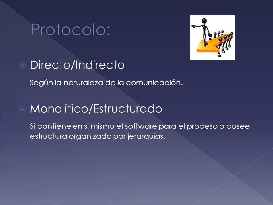 Directo/Indirecto Según la naturaleza de la comunicación. Monolítico/Estructurado Si contiene en si mismo el software para el proceso o posee estructu