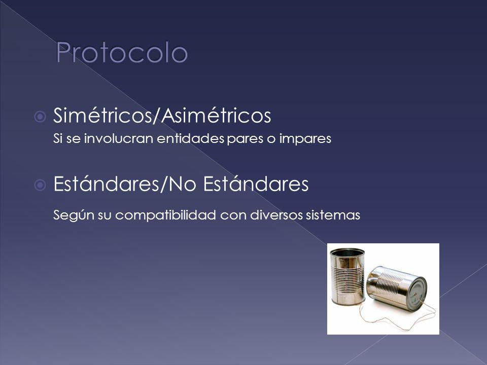 Simétricos/Asimétricos Si se involucran entidades pares o impares Estándares/No Estándares Según su compatibilidad con diversos sistemas