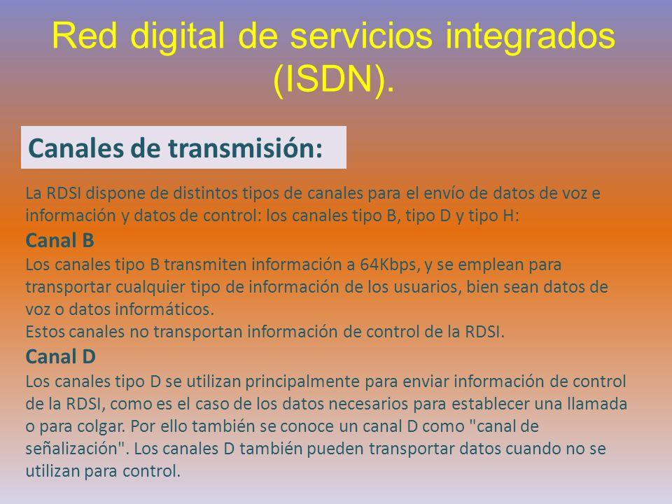 Red digital de servicios integrados (ISDN). Canales de transmisión: La RDSI dispone de distintos tipos de canales para el envío de datos de voz e info