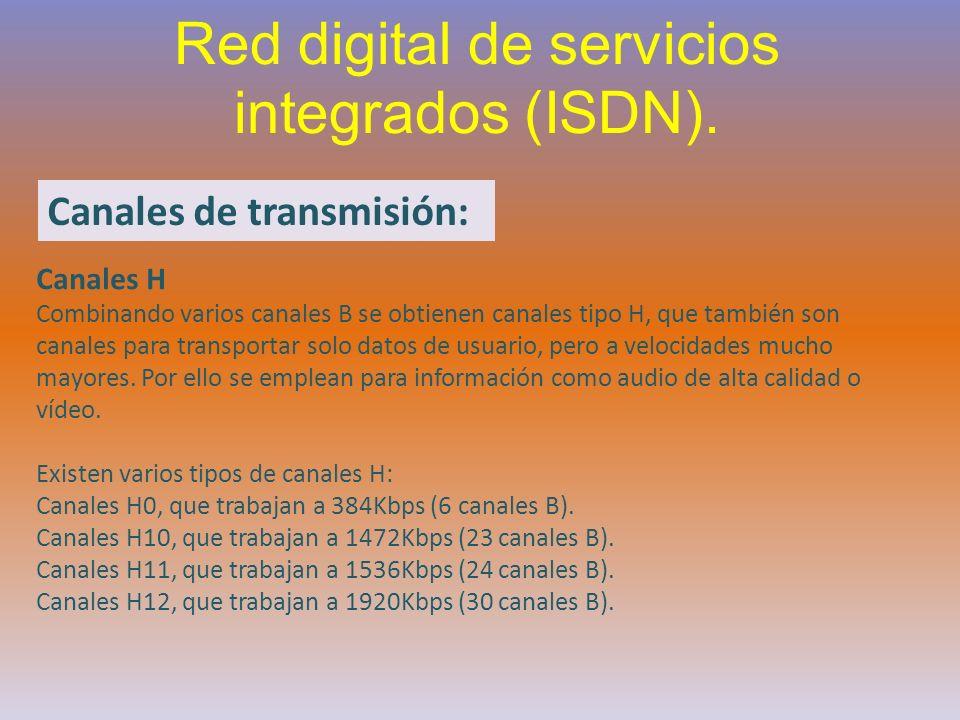 Red digital de servicios integrados (ISDN). Canales de transmisión: Canales H Combinando varios canales B se obtienen canales tipo H, que también son