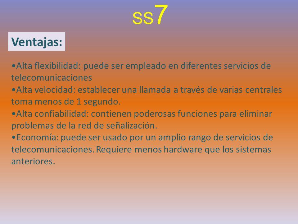Ventajas: SS 7 Alta flexibilidad: puede ser empleado en diferentes servicios de telecomunicaciones Alta velocidad: establecer una llamada a través de