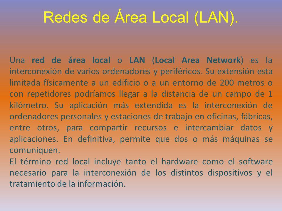 Redes de Área Local (LAN). Una red de área local o LAN (Local Area Network) es la interconexión de varios ordenadores y periféricos. Su extensión esta