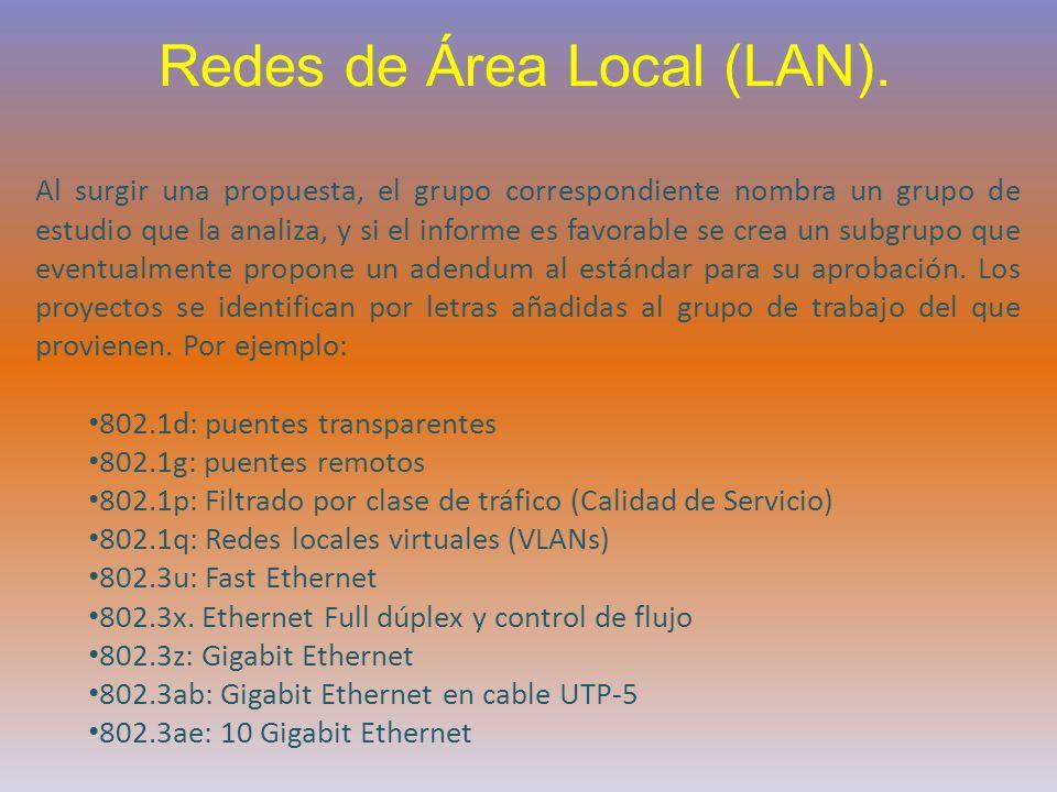 Redes de Área Local (LAN). Al surgir una propuesta, el grupo correspondiente nombra un grupo de estudio que la analiza, y si el informe es favorable s