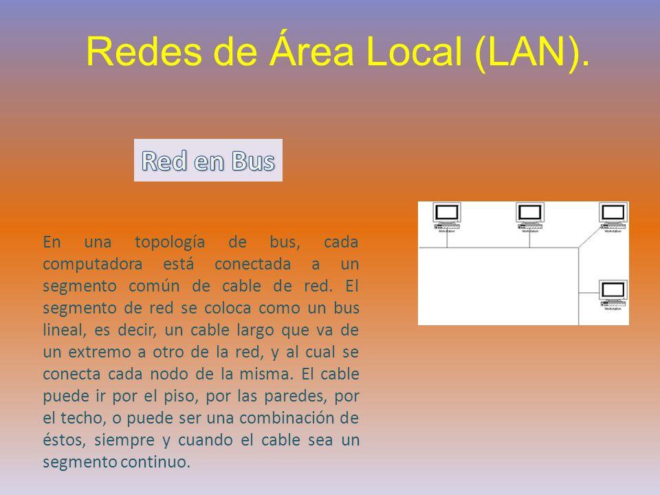 Redes de Área Local (LAN). En una topología de bus, cada computadora está conectada a un segmento común de cable de red. El segmento de red se coloca
