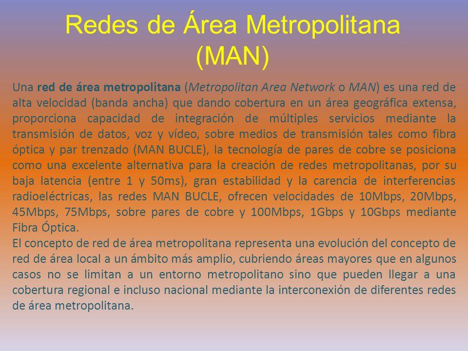 Redes de Área Metropolitana (MAN) Una red de área metropolitana (Metropolitan Area Network o MAN) es una red de alta velocidad (banda ancha) que dando