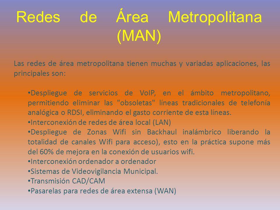 Las redes de área metropolitana tienen muchas y variadas aplicaciones, las principales son: Despliegue de servicios de VoIP, en el ámbito metropolitan