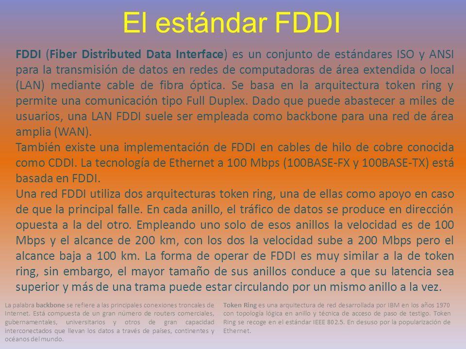 El estándar FDDI FDDI (Fiber Distributed Data Interface) es un conjunto de estándares ISO y ANSI para la transmisión de datos en redes de computadoras