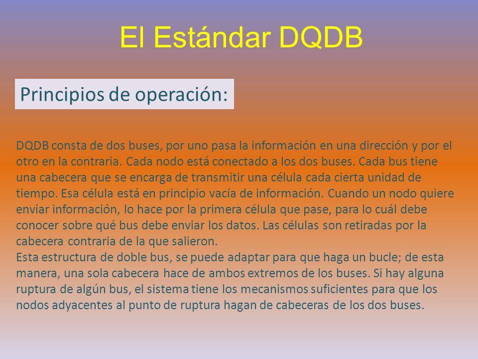 El Estándar DQDB DQDB consta de dos buses, por uno pasa la información en una dirección y por el otro en la contraria. Cada nodo está conectado a los