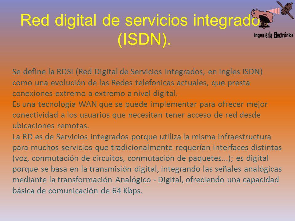 Red digital de servicios integrados (ISDN). Se define la RDSI (Red Digital de Servicios Integrados, en ingles ISDN) como una evolución de las Redes te