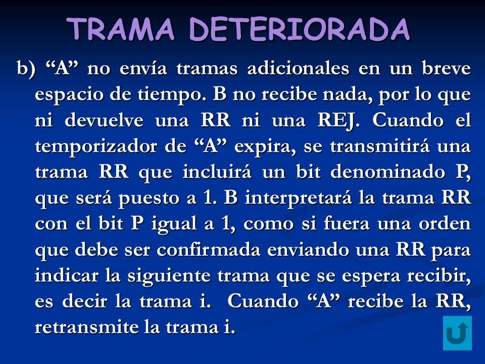 TRAMA DETERIORADA b) A no envía tramas adicionales en un breve espacio de tiempo. B no recibe nada, por lo que ni devuelve una RR ni una REJ. Cuando e