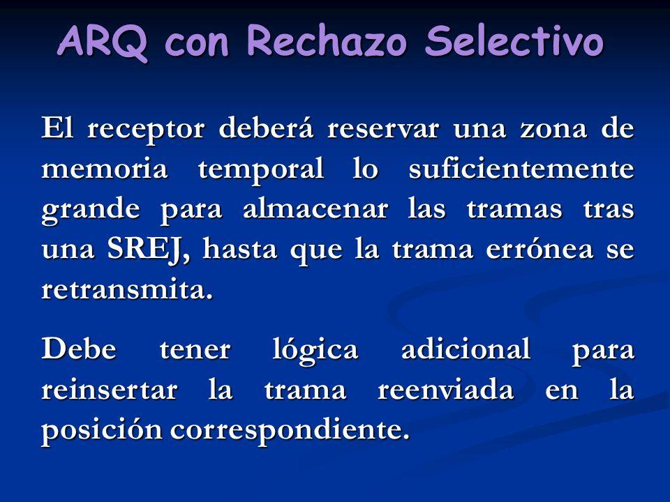 ARQ con Rechazo Selectivo El receptor deberá reservar una zona de memoria temporal lo suficientemente grande para almacenar las tramas tras una SREJ,