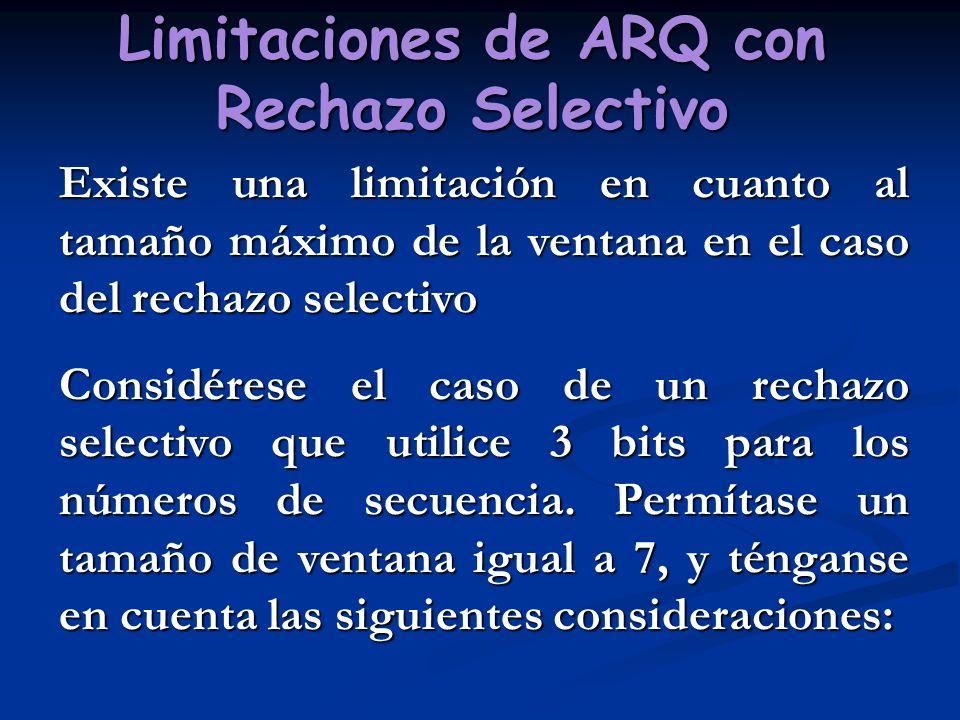 Limitaciones de ARQ con Rechazo Selectivo Existe una limitación en cuanto al tamaño máximo de la ventana en el caso del rechazo selectivo Considérese