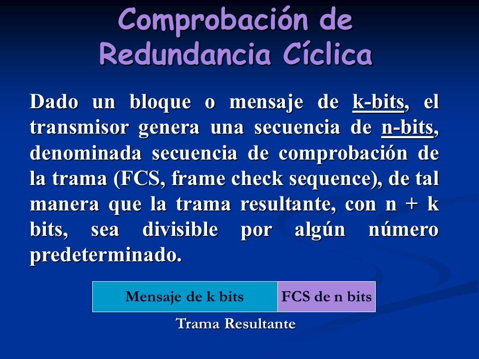 Comprobación de Redundancia Cíclica Dado un bloque o mensaje de k-bits, el transmisor genera una secuencia de n-bits, denominada secuencia de comproba