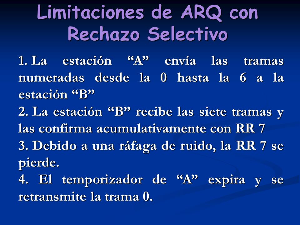 Limitaciones de ARQ con Rechazo Selectivo 1. La estación A envía las tramas numeradas desde la 0 hasta la 6 a la estación B 2. La estación B recibe la