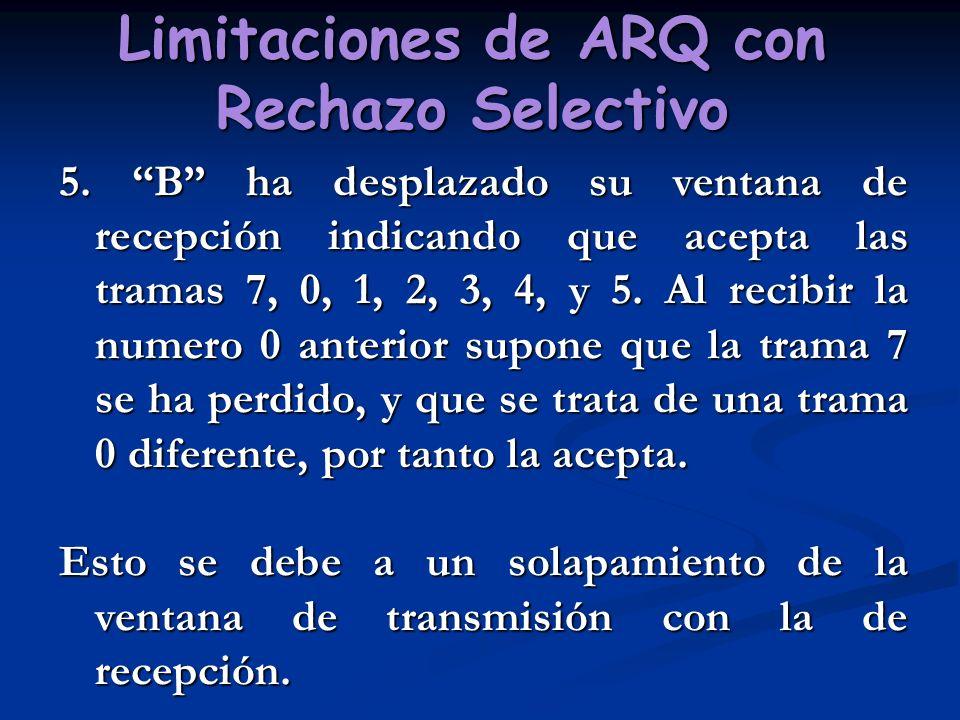 Limitaciones de ARQ con Rechazo Selectivo 5. B ha desplazado su ventana de recepción indicando que acepta las tramas 7, 0, 1, 2, 3, 4, y 5. Al recibir