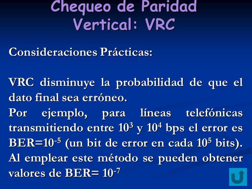 Chequeo de Paridad Vertical: VRC Consideraciones Prácticas: VRC disminuye la probabilidad de que el dato final sea erróneo. Por ejemplo, para líneas t