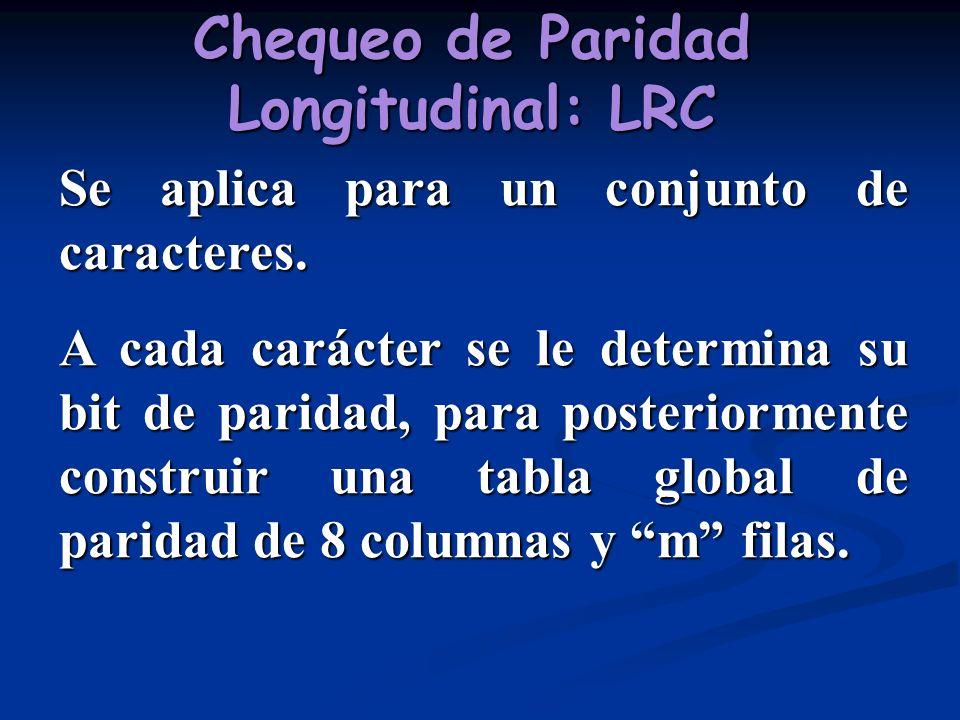 Chequeo de Paridad Longitudinal: LRC Se aplica para un conjunto de caracteres. A cada carácter se le determina su bit de paridad, para posteriormente