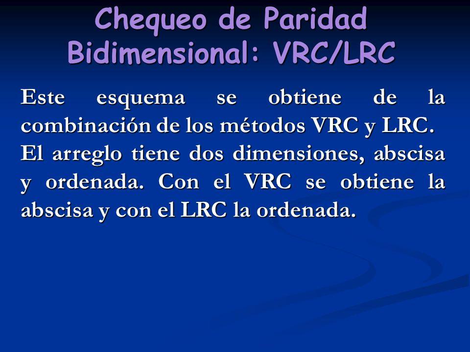 Chequeo de Paridad Bidimensional: VRC/LRC Este esquema se obtiene de la combinación de los métodos VRC y LRC. El arreglo tiene dos dimensiones, abscis