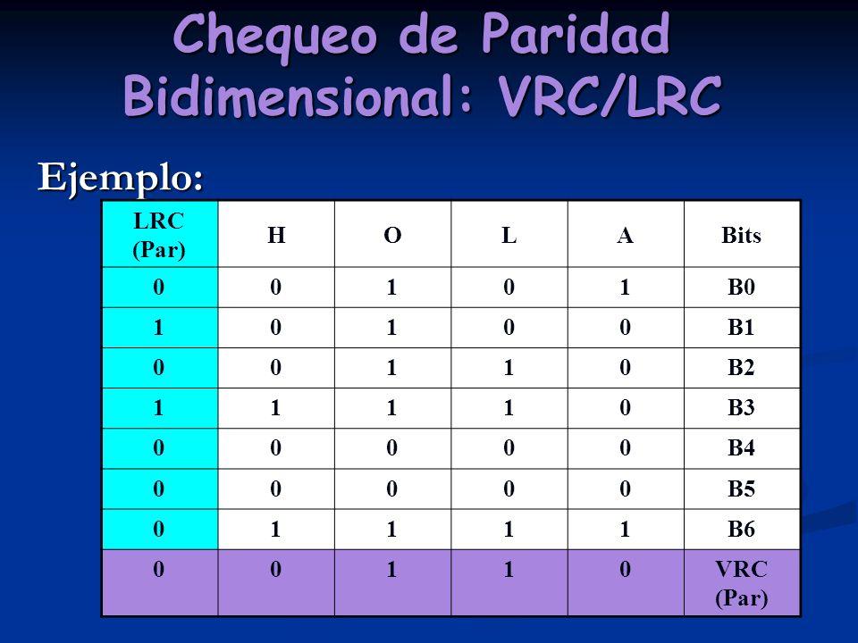 Chequeo de Paridad Bidimensional: VRC/LRC Ejemplo: LRC (Par) HOLABits 00101B0 10100B1 00110B2 11110B3 00000B4 00000B5 01111B6 00110VRC (Par)