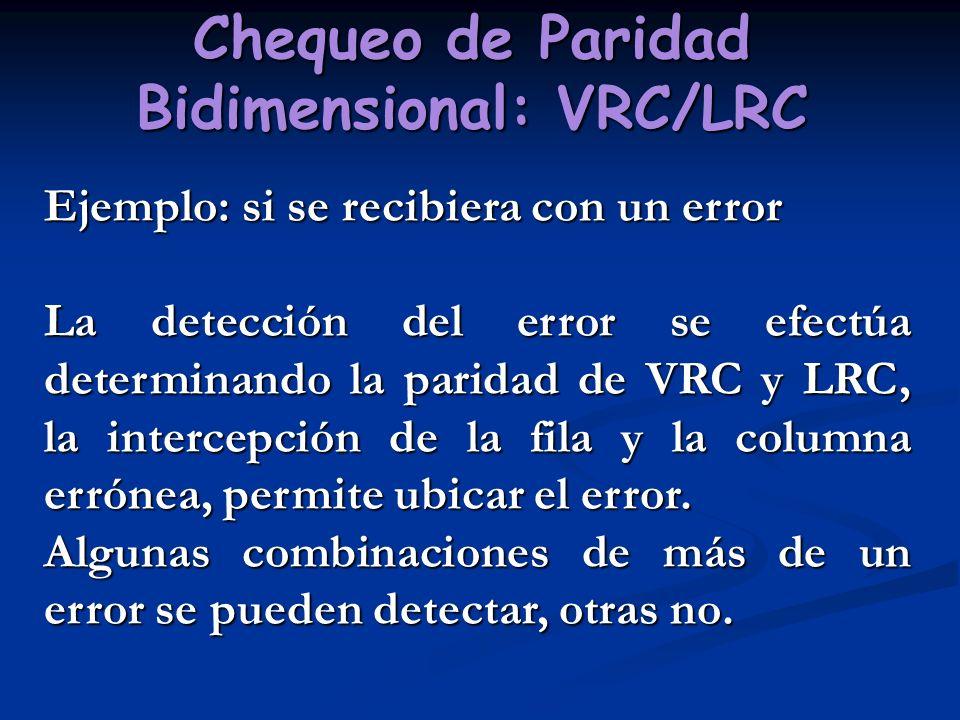 Chequeo de Paridad Bidimensional: VRC/LRC Ejemplo: si se recibiera con un error La detección del error se efectúa determinando la paridad de VRC y LRC