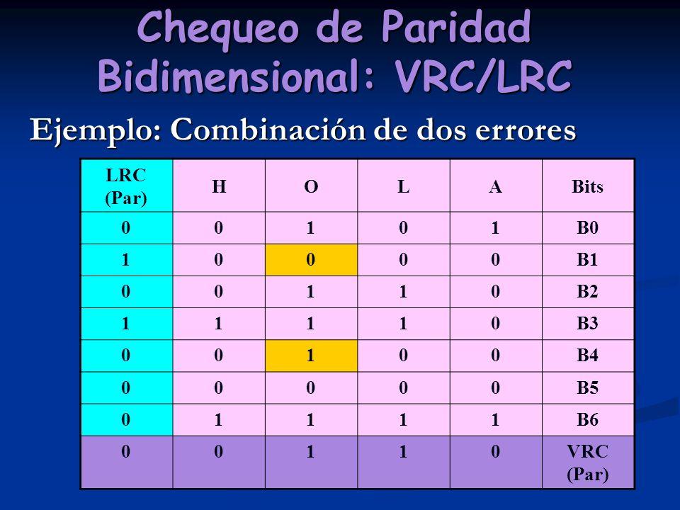Chequeo de Paridad Bidimensional: VRC/LRC Ejemplo: Combinación de dos errores LRC (Par) HOLABits 00101B0 10000B1 00110B2 11110B3 00100B4 00000B5 01111